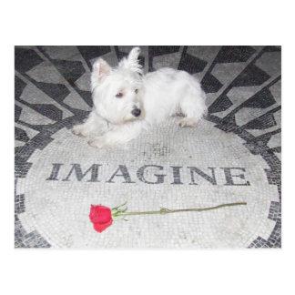 Carte Postale Westie imagine la paix du monde