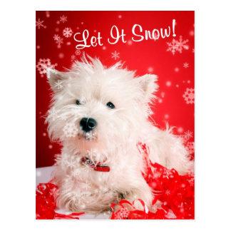 Carte Postale Westie l'a laissé neiger saluant #2