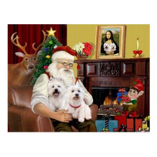 Carte Postale Westies de Père Noël 2