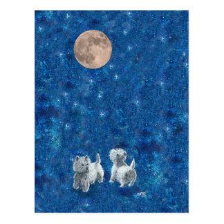 Carte Postale Westies souhaitant sur la lune