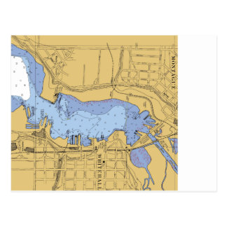 Carte Postale Whitehall, diagramme nautique de port de MI