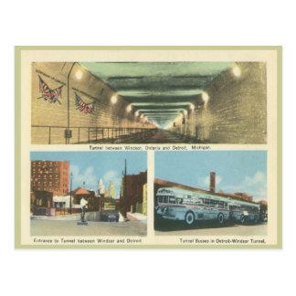 Carte Postale Windsor vintage Ontario et Detroit Michigan