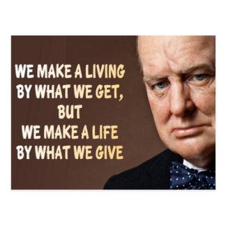 Carte Postale Winston Churchill nous faisons une vie