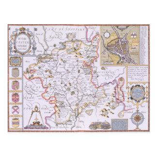 Carte Postale Worchestershire, gravé par Jodocus Hondius