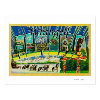 Carte Postale Wrangell, Alaska - grandes scènes de lettre