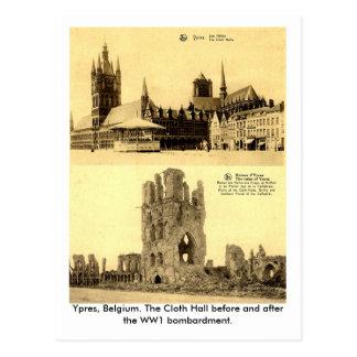 Carte Postale WW1 - Ypres, le tissu Hall