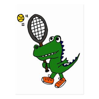 Carte Postale XX alligator drôle jouant au tennis