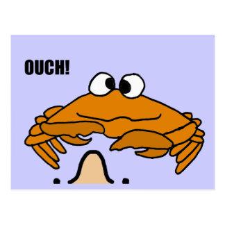 Carte Postale XX crabe cornant la bande dessinée de nez