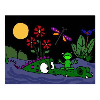 Carte Postale XX grenouille se reposant sur la bande dessinée de