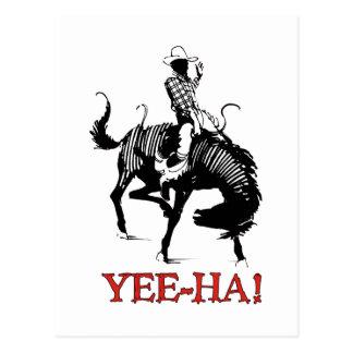 Carte Postale Yee-Ha ! Cowboy de rodéo sur l'étalon s'opposant