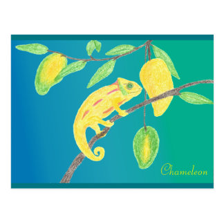 Carte Postale Yellow Chameleon dans a mangue Tree