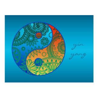 Carte Postale Yin modelé Yang orange et bleu