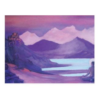 Carte Postale Yogi et monastère en montagnes tibétaines