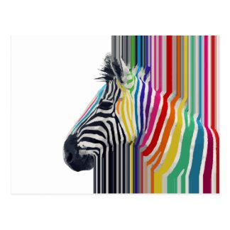 Carte Postale zèbre vibrant coloré à la mode impressionnant de