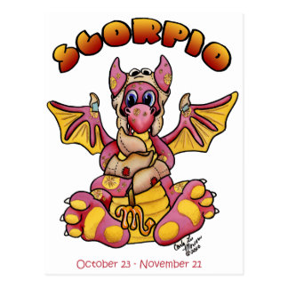 Carte Postale zodiaque mignon de dragon de bébé de Scorpion