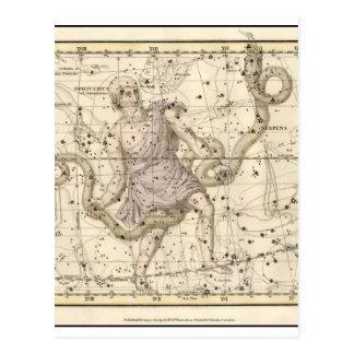 Carte Postale Zodiaque vintage de constellation d'Ophiuchus