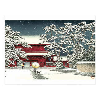 "Carte Postale ""Zojoji dans la neige"" par le 川瀬巴水 de Kawase Hasui"