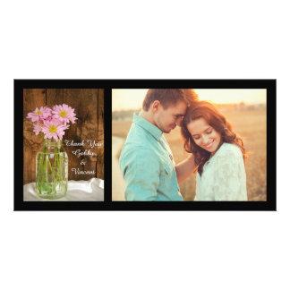 Carte Pot de maçon et Merci rose de mariage de grange de