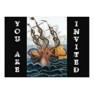 Carte Poulpe victorien vintage de Steampunk   Kraken