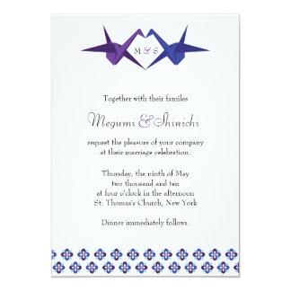 Carte POUR KATY : Épouser de grues d'origami (bleu et