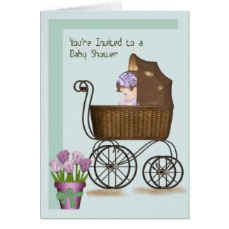 Carte pour le baby shower avec le bébé dans le