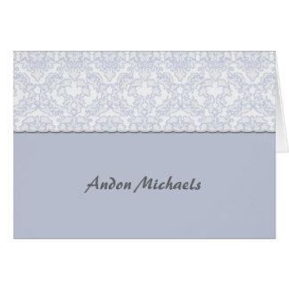 Carte pour notes bleu de Merci de photo de damassé