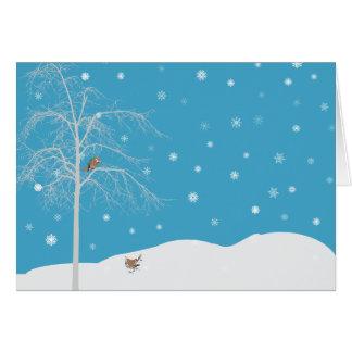 Carte pour notes de blanc d'arbre d'oiseau de