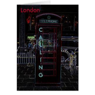 Carte pour notes de cabine de téléphone de Londres