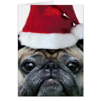 Carte pour notes de chien de carlin de Noël
