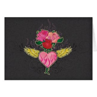 Carte pour notes de coeur et de roses