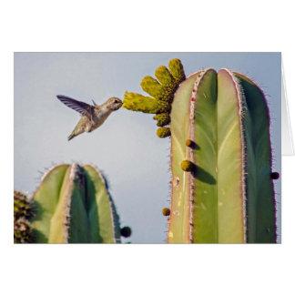 Carte pour notes de colibri et de cactus