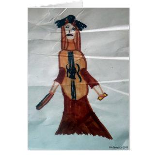 Carte pour notes de femme de violoncelle