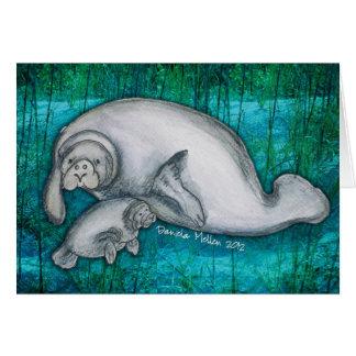 Carte pour notes de maman et de chiot de lamantin