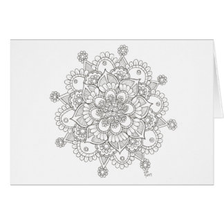 Carte pour notes de mandala de flocon de neige de