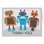 Carte pour notes de Merci de partie de robot
