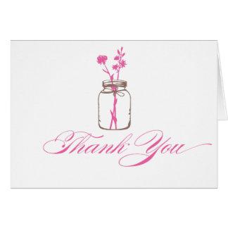 Carte pour notes de Merci de pot de maçon
