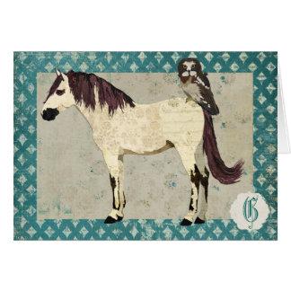 Carte pour notes de monogramme de cheval blanc et