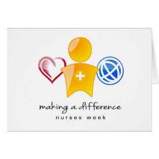 Carte pour notes de semaine d'infirmières