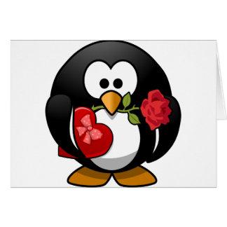Carte pour notes de Valentine de pingouin