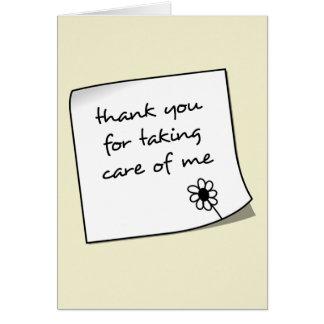 Carte pour notes d'infirmière de note de Merci