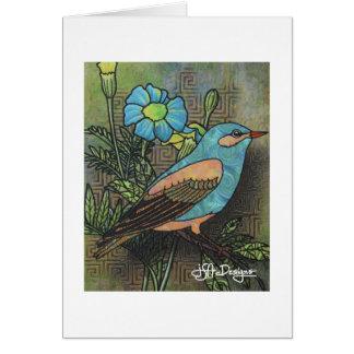 Carte pour notes d'oiseau d'art de textile