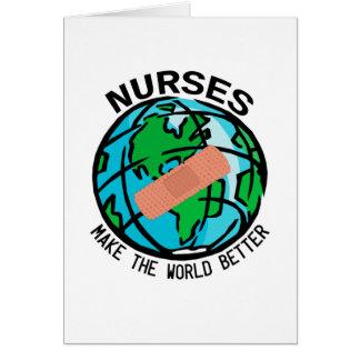 Carte pour notes du monde d'infirmières