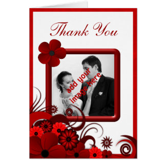 Carte pour notes floral blanc rouge de photo de