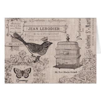 Carte pour notes français vintage d'oiseau