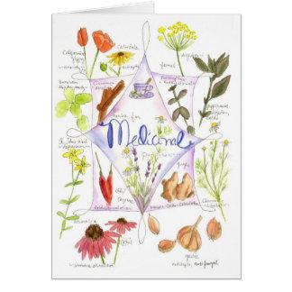 Carte pour notes médicinal d'ail de pavot