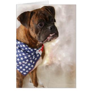Carte pour notes patriotique de chien de boxeur