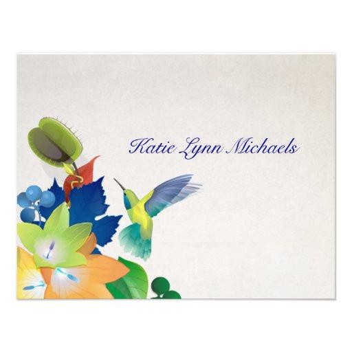 Carte pour notes personnalisé par colibri invitations personnalisées