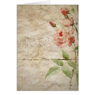 Carte pour notes vide floral vintage