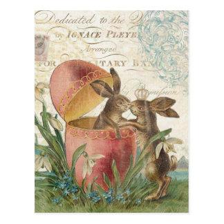 Carte pour notes vintage de lapins de Pâques Cartes Postales