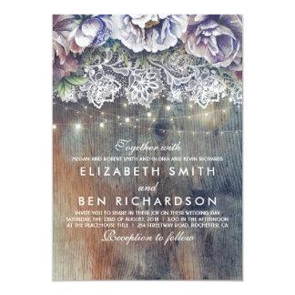 Carte Pourpre bleu et mariage floral vintage de dentelle